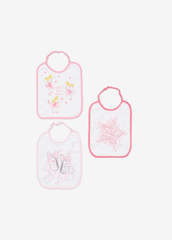 Three-pack printed bibs in 100% cotton