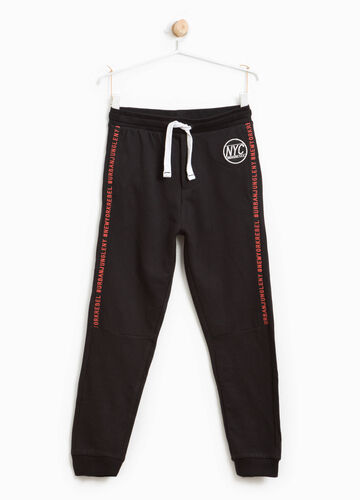 Joggers with embroidery and lettering print