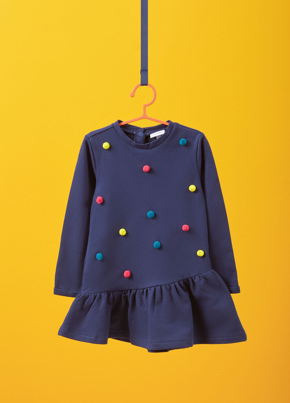 100% cotton dress with pompoms