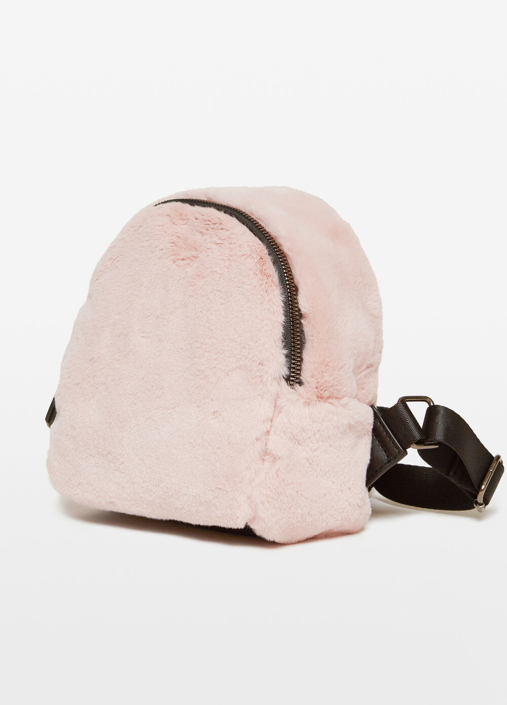Faux fur backpack with zip