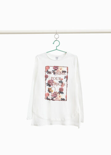 T-shirt puro cotone stampa floreale