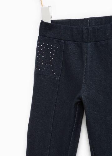 Pantaloni in cotone stretch con strass