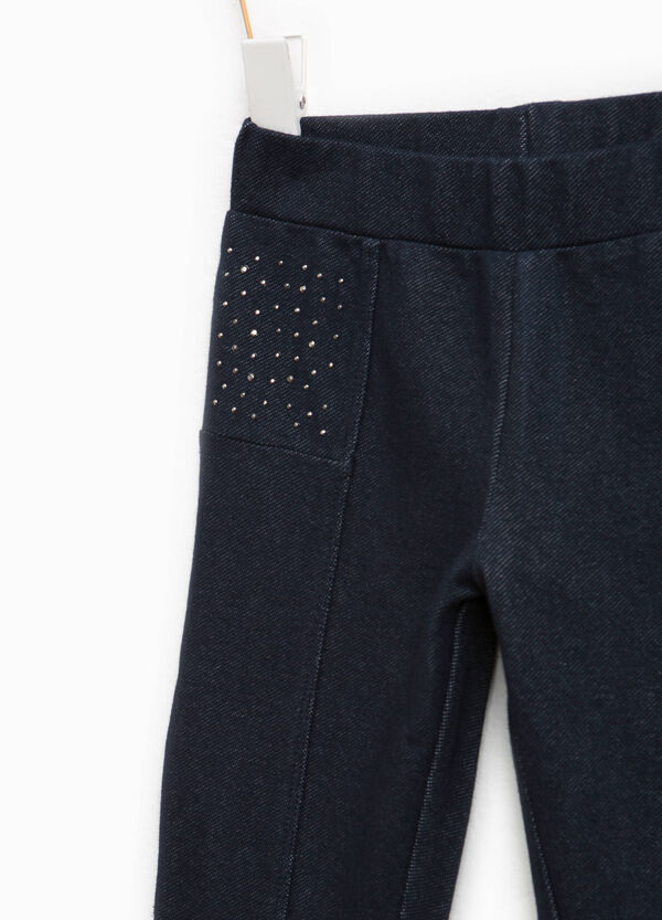 Stretch cotton trousers with diamantés | OVS