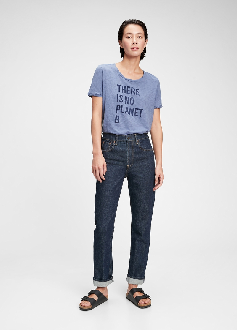 GAP slub cotton T-shirt with lettering print image number null