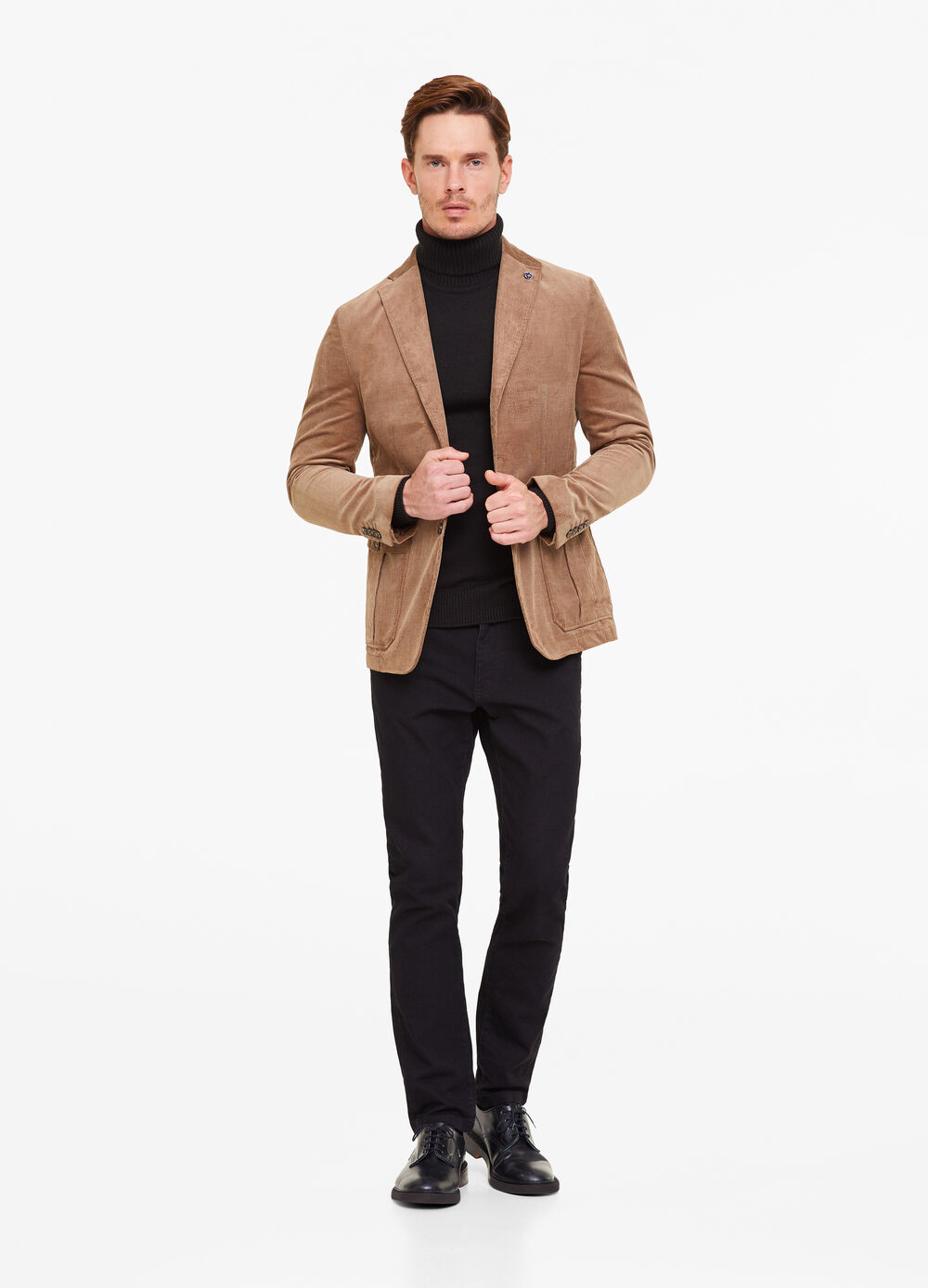Three-button blazer with striped weave