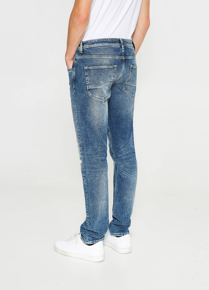 Jeans straight fit stretch con strappi image number null