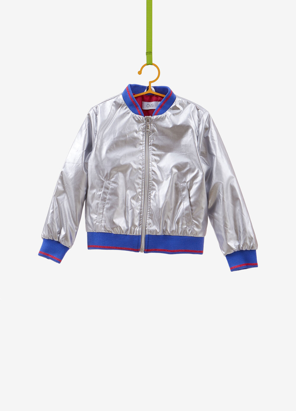 Bomber jacket with glitter trim