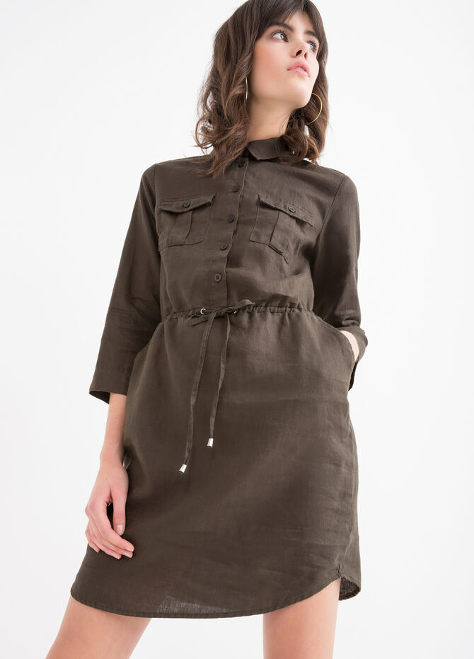 Solid colour 100% linen dress