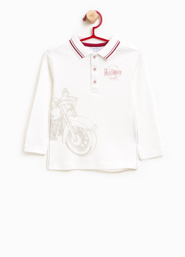 100% cotton polo shirt with striped collar and print | OVS