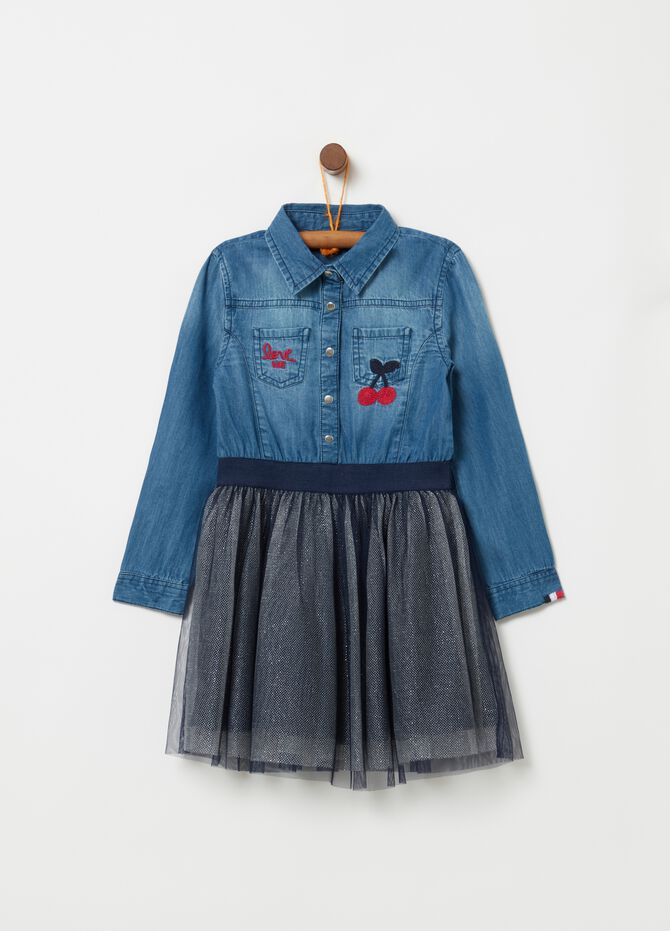 Vestitino camicia in denim e gonna tulle