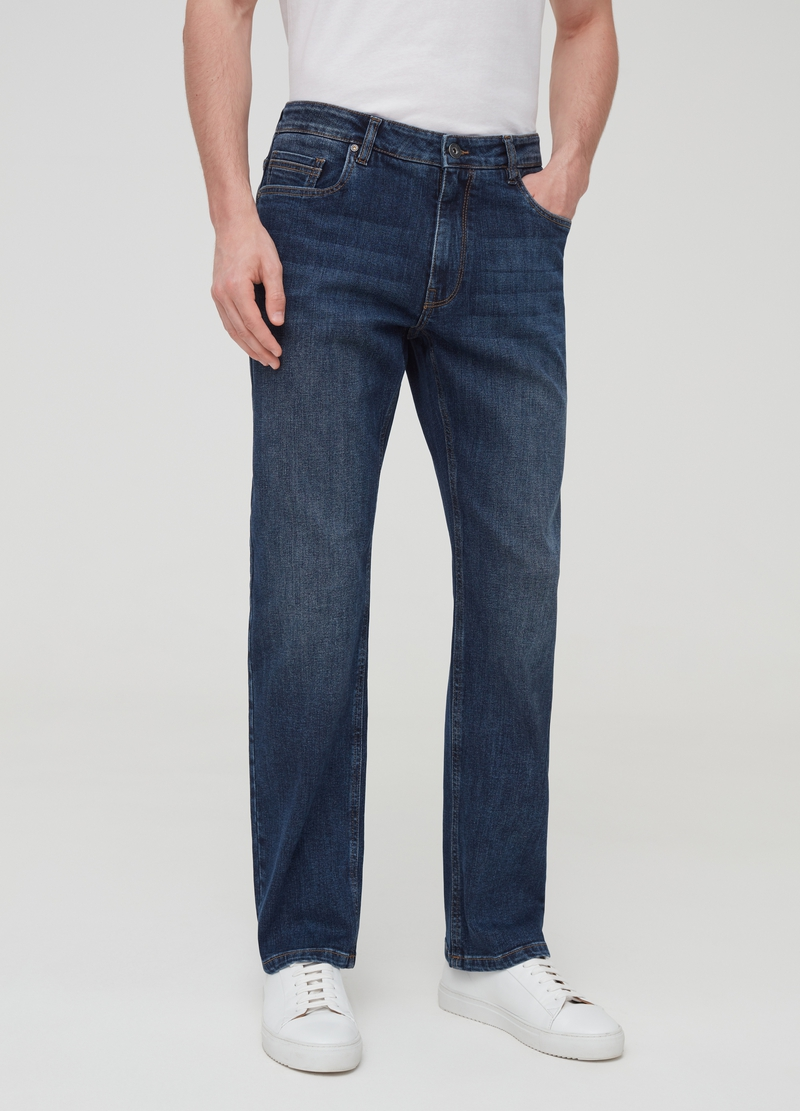 Comfort-fit stretch jeans with five pockets image number null