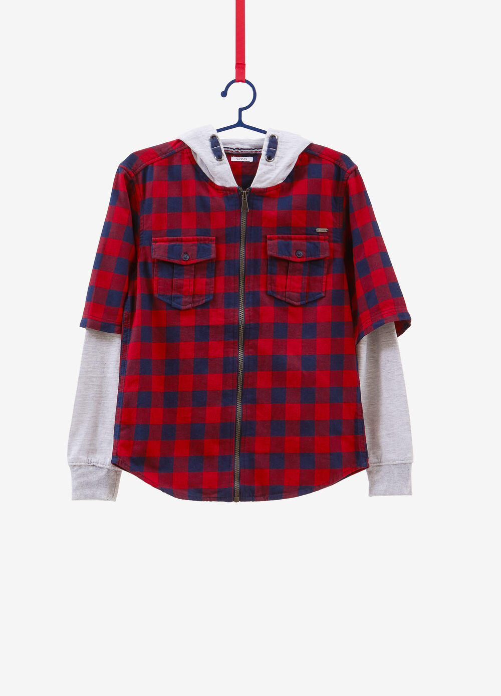 Checked shirt with zip and faux layer