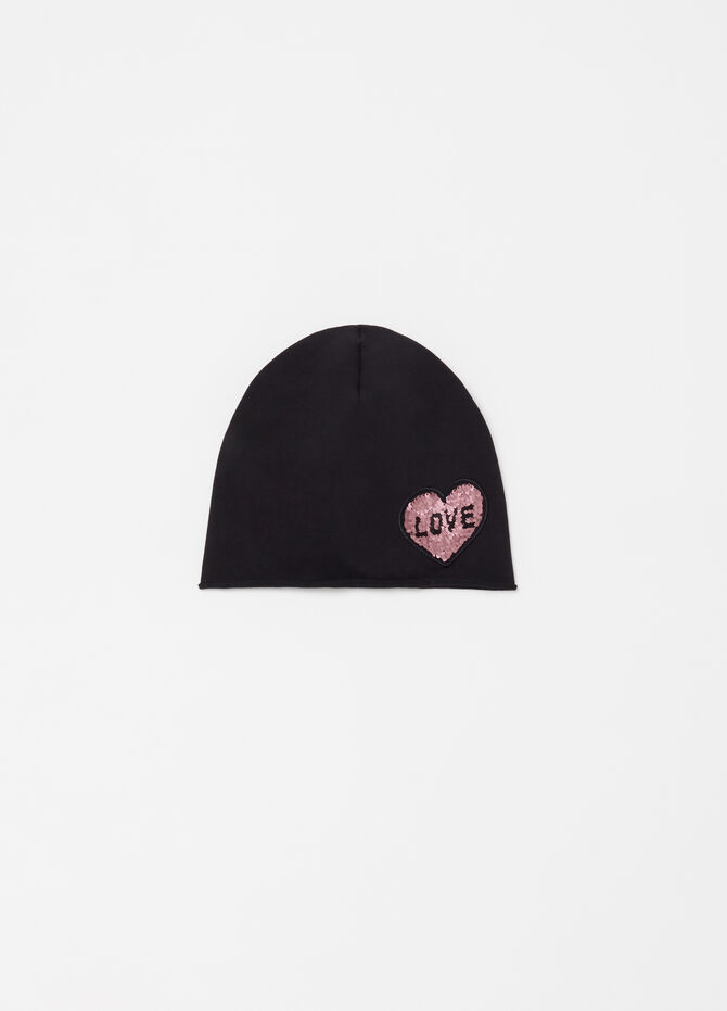 Cotton jersey beanie cap with hearts