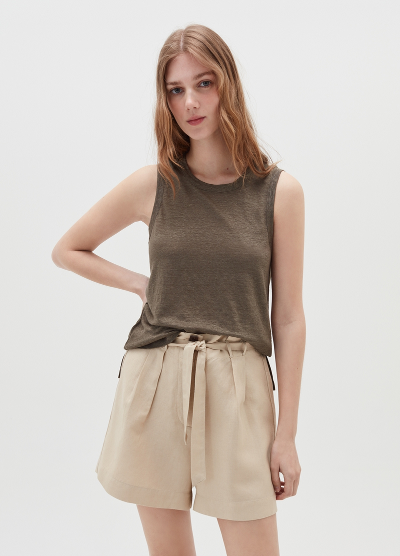 Tank top in puro lino image number null