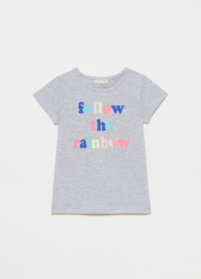 T-shirt mélange con stampa lettering image number null