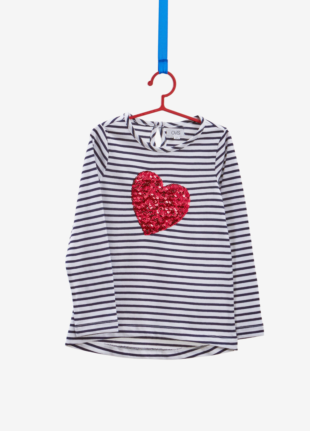 Striped 100% cotton T-shirt with sequins