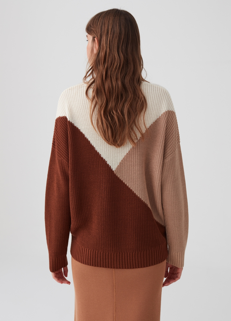 Pullover colorblock tricot con costina image number null