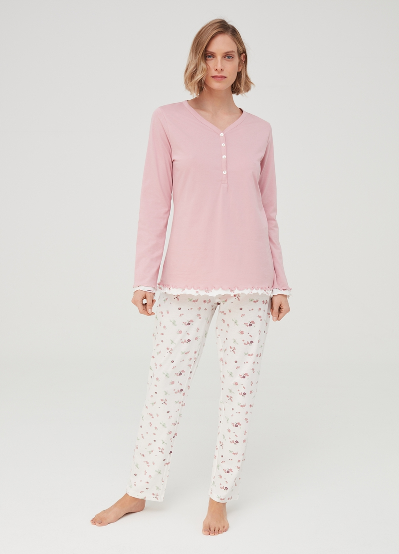 Floral pyjamas in 100% organic cotton image number null