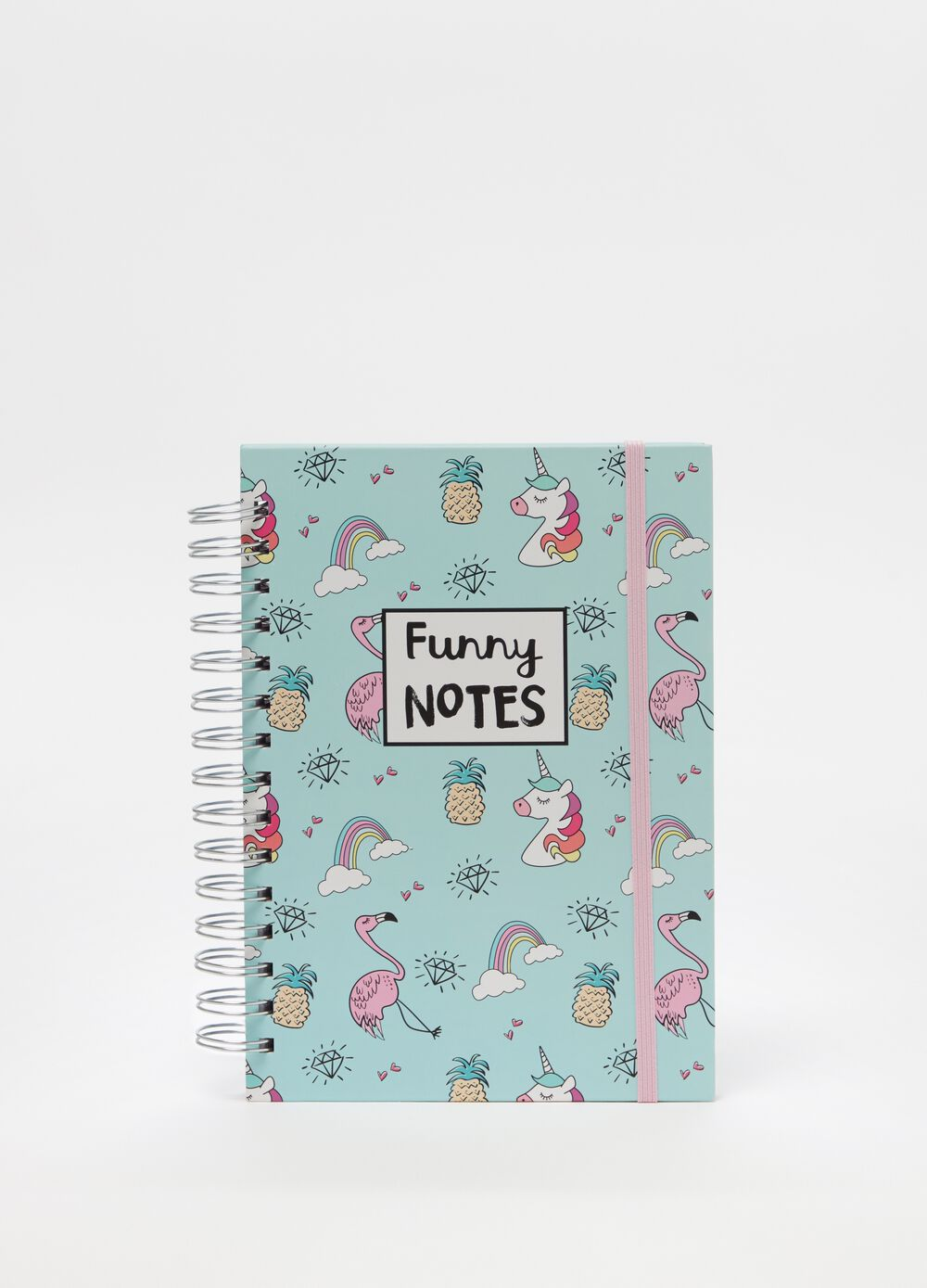 Notebook with spiral binding, print and pattern