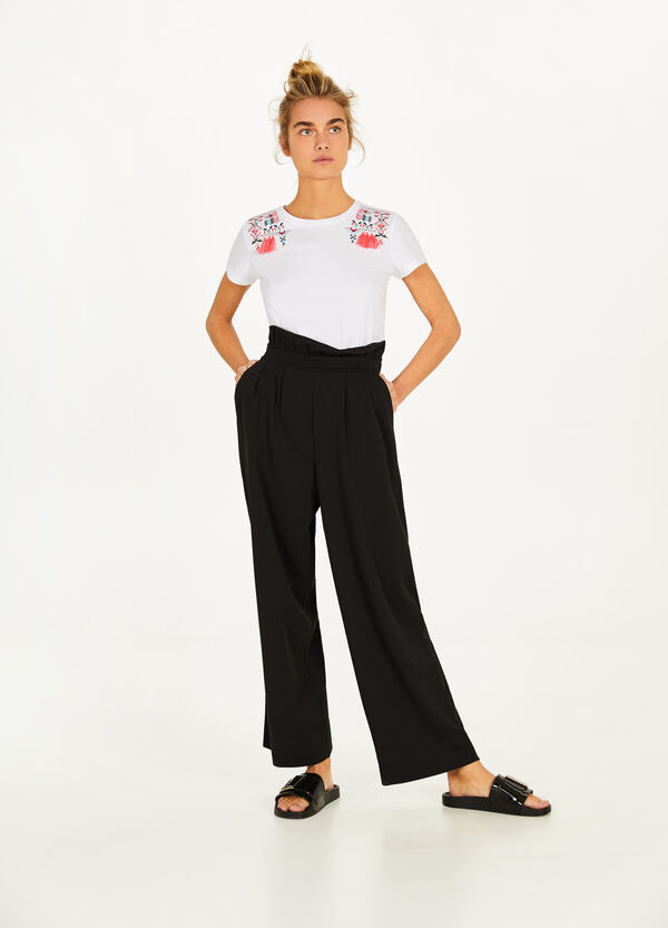 Stretch palazzo trousers with high waist