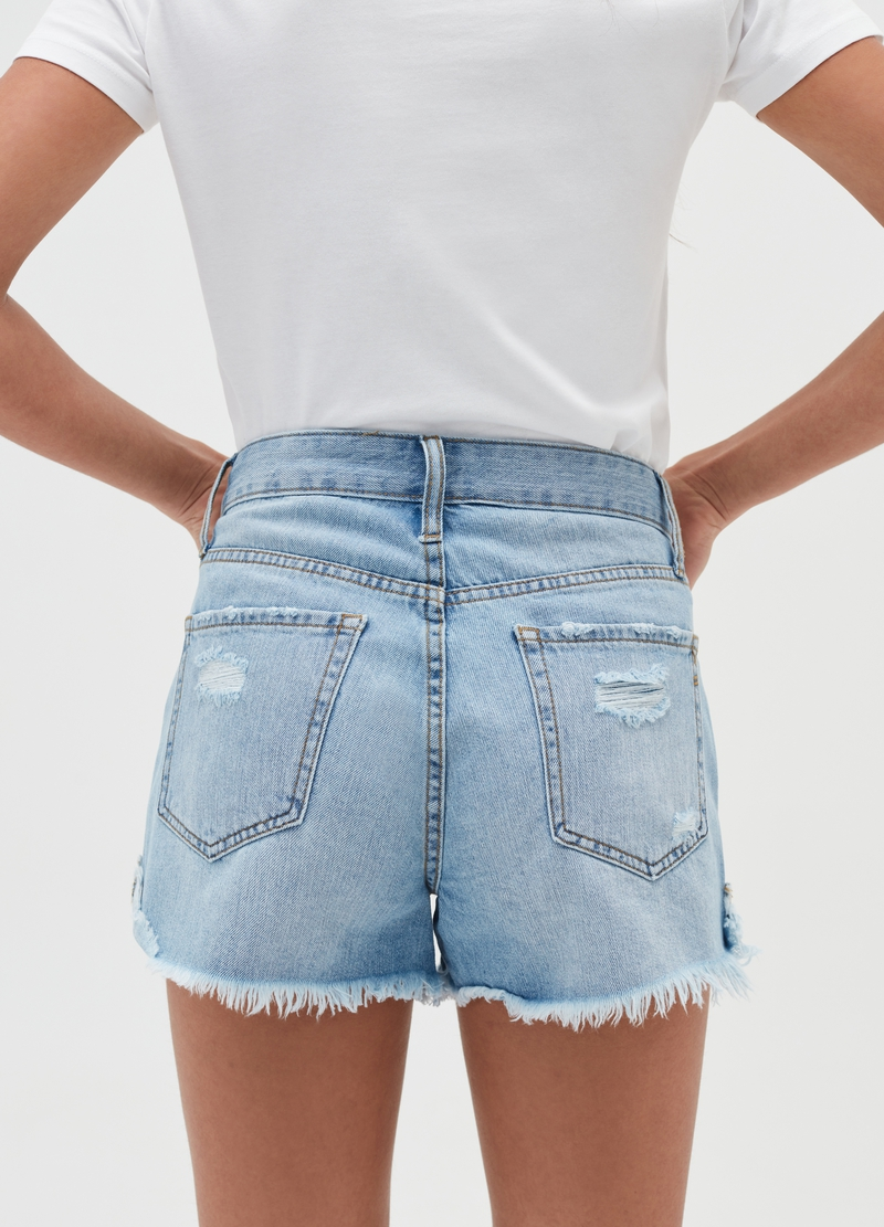 Denim shorts with high waist and rips image number null