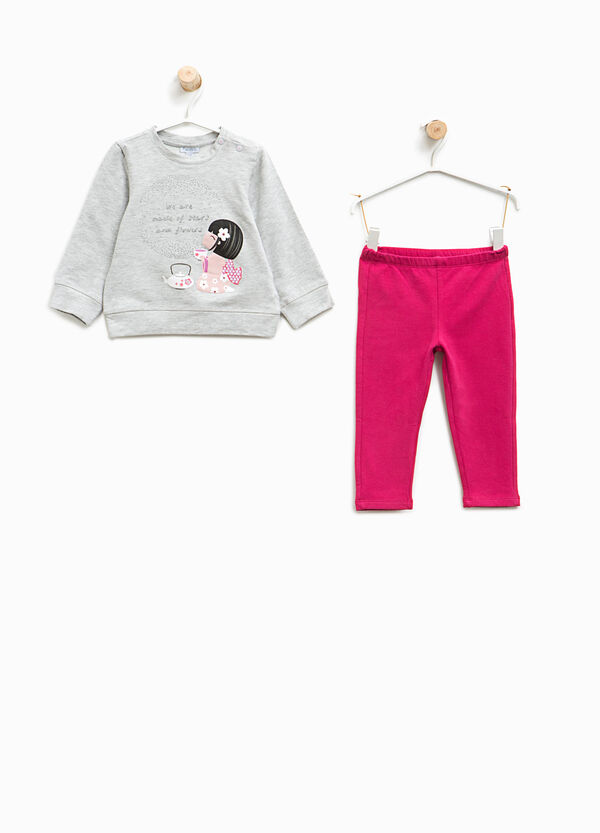 Stretch cotton tracksuit with print | OVS