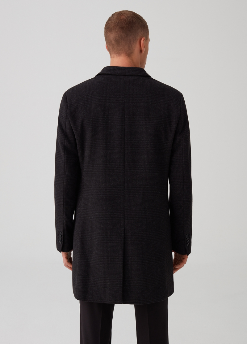 Three-button coat in Prince-of-Wales fabric image number null