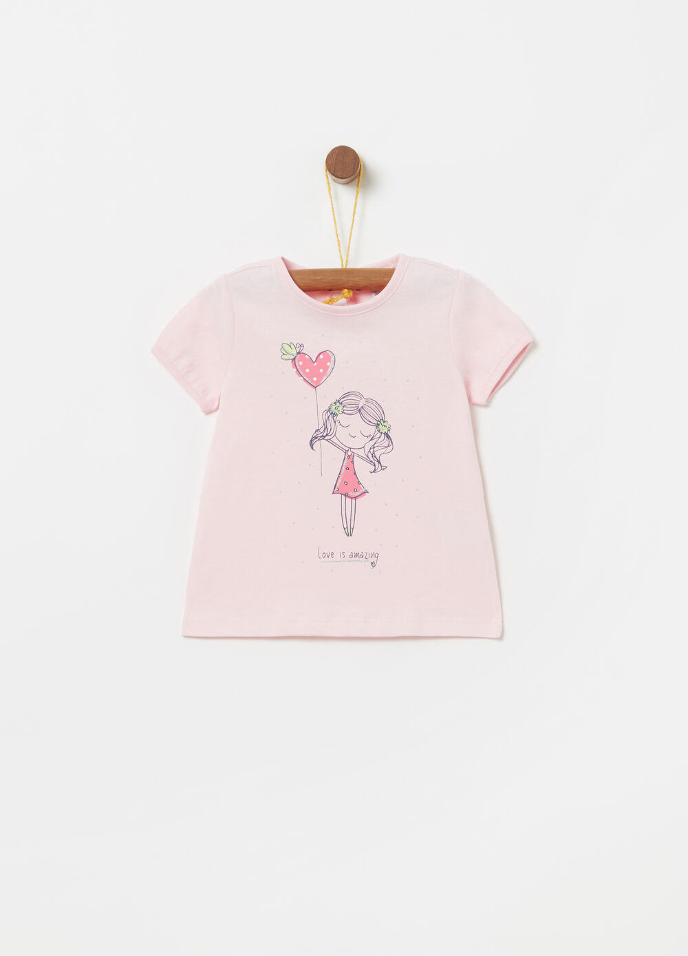 Jersey T-shirt with glitter print and diamantés