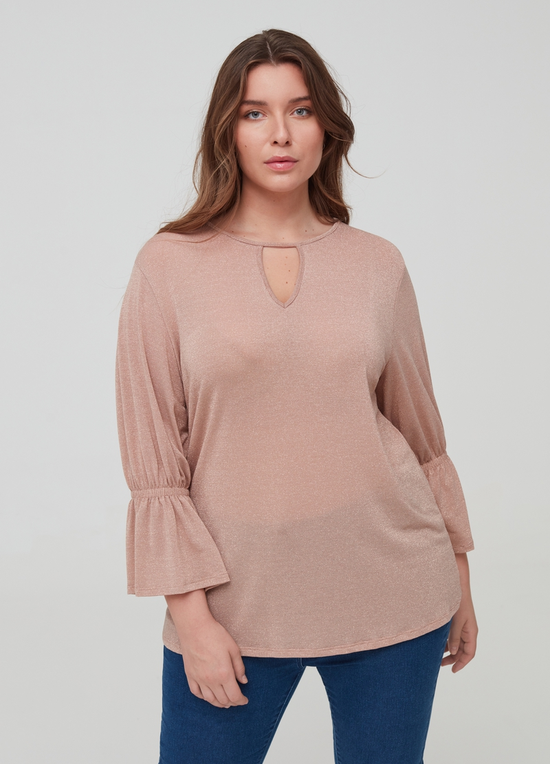Curvy solid colour T-shirt with lurex. image number null