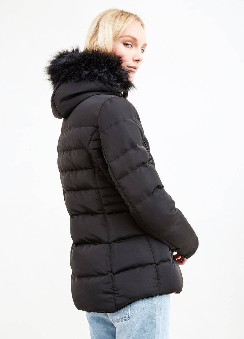 Jacket with hood and faux fur image number null