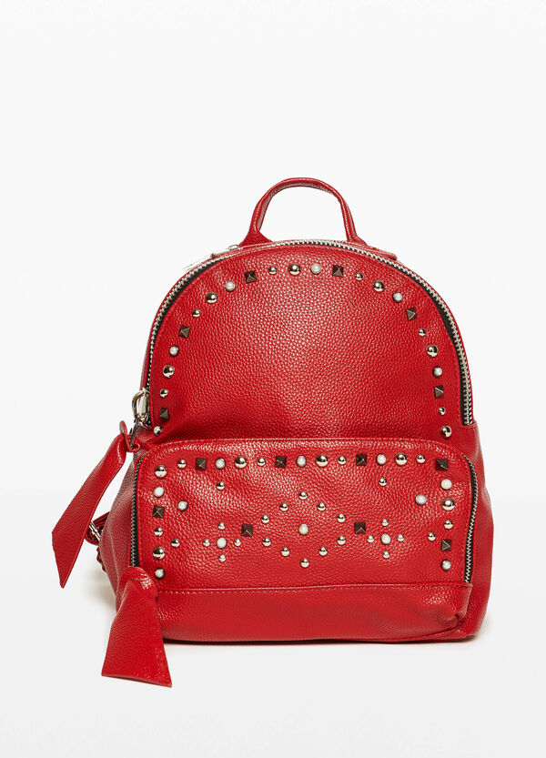 Textured-effect backpack with studs