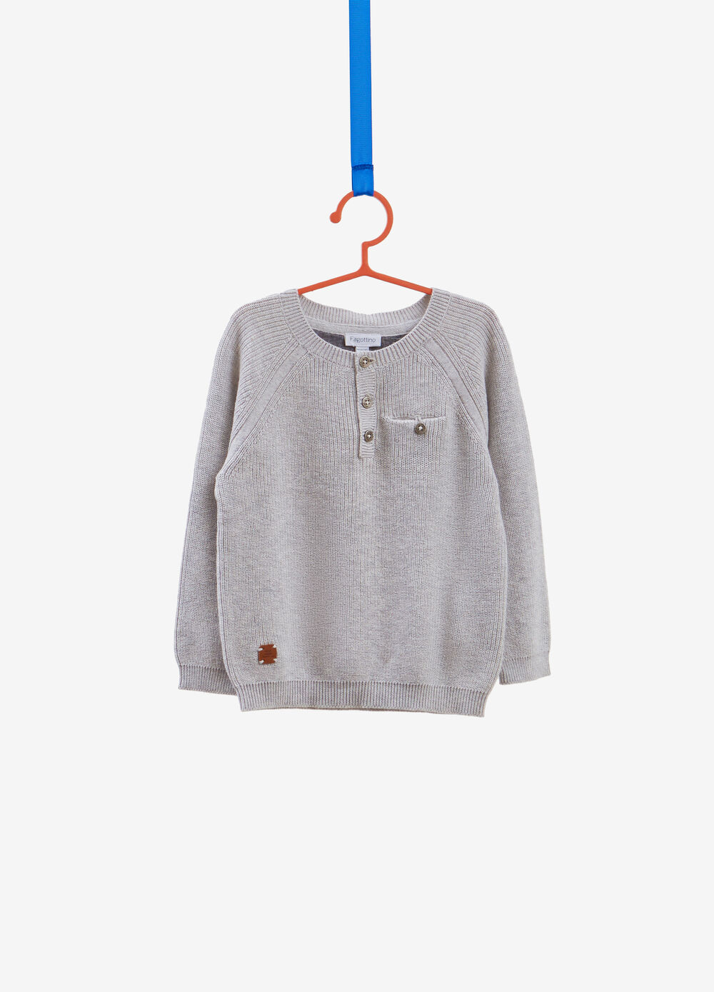 Knitted cotton pullover with pocket