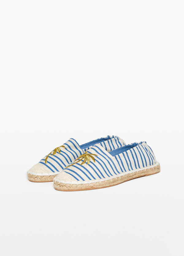 Espadrilles with striped upper and embroidery