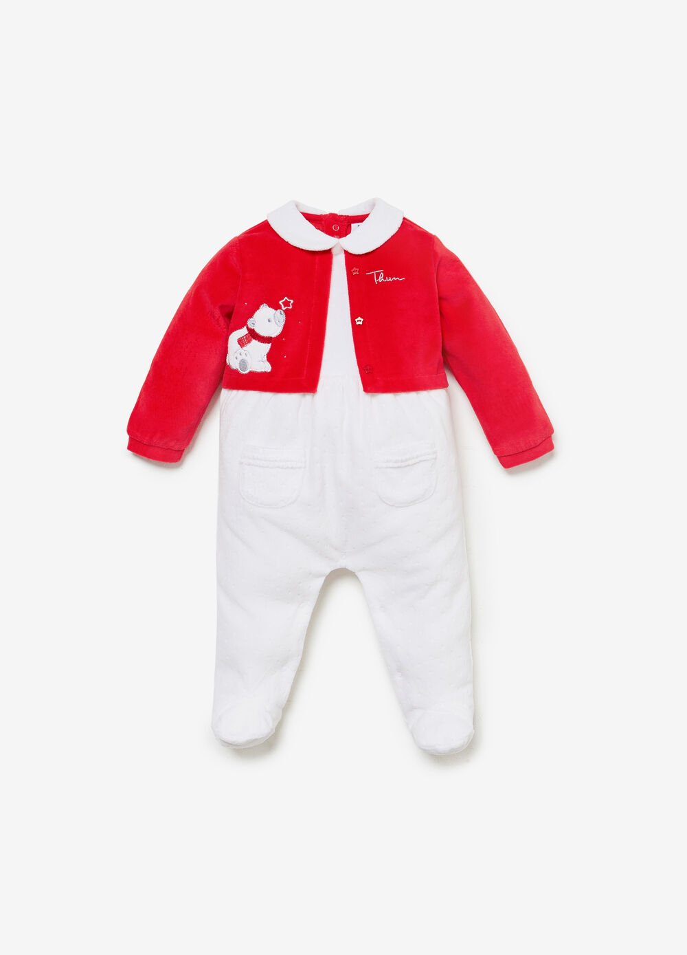 THUN polar bear romper suit in two tone organic cotton