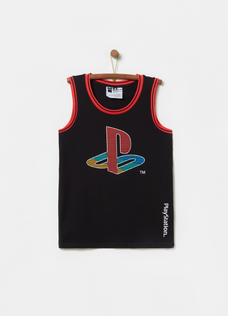 100% cotton tank top with Playstation print image number null