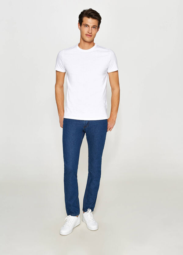 Slim-fit, solid colour jeans with stitching | OVS