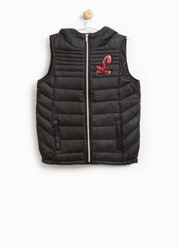 Padded gilet with lettering sequins | OVS