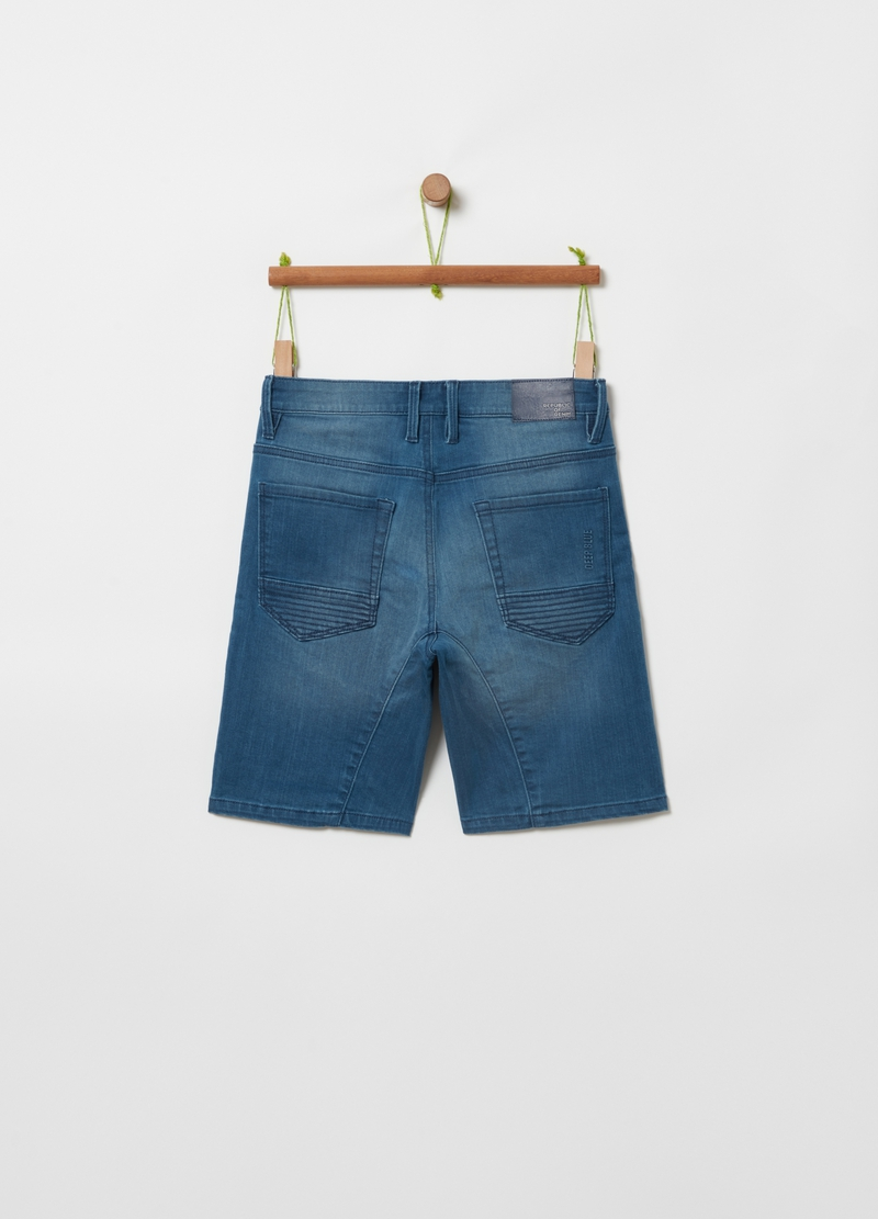 Stretch denim Bermuda shorts with pockets image number null