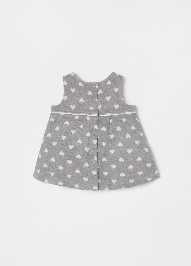 Sleeveless dress with small hearts pattern image number null