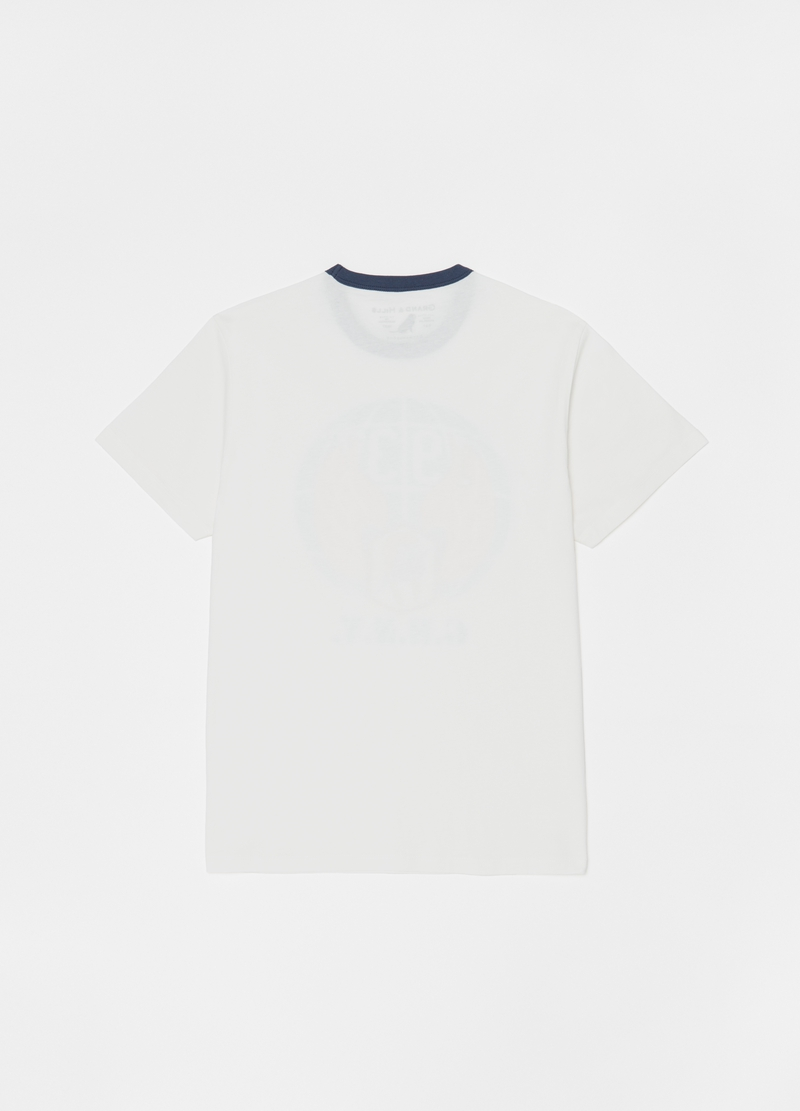Round neck T-shirt with lettering print image number null
