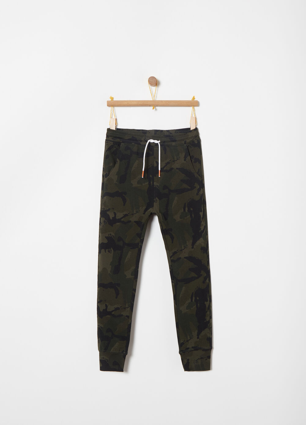 Pantaloni French Terry slim fit camouflage