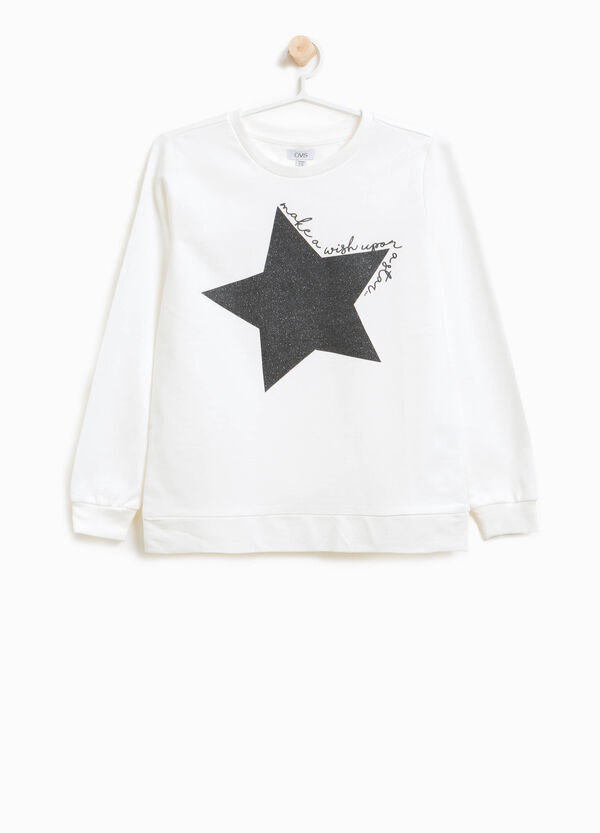 Sweatshirt in 100% cotton with glitter print | OVS