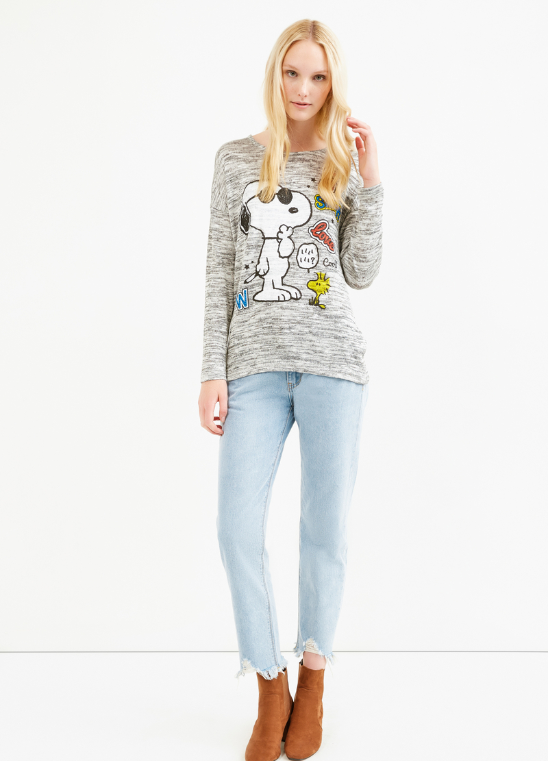 T-shirt viscosa stretch stampa Snoopy image number null