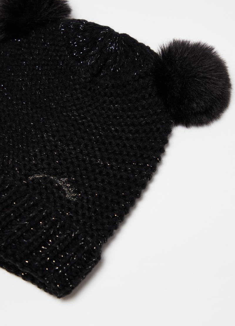 Hat with lurex details and pompoms image number null