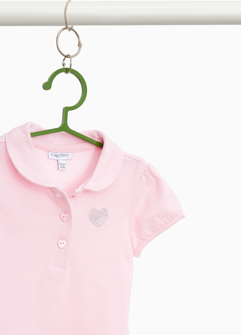 Stretch cotton polo shirt with diamanté trim image number null