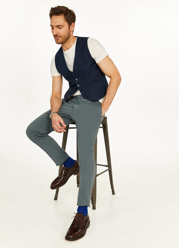 Rumford solid colour cotton and linen gilet