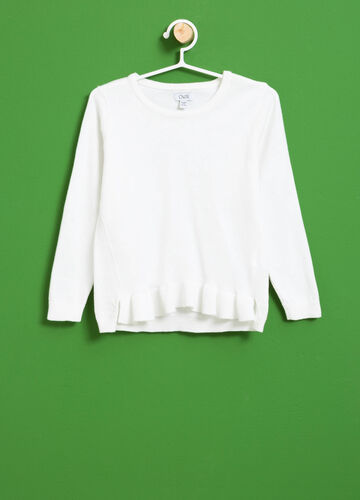 Cotton blend pullover with flounce