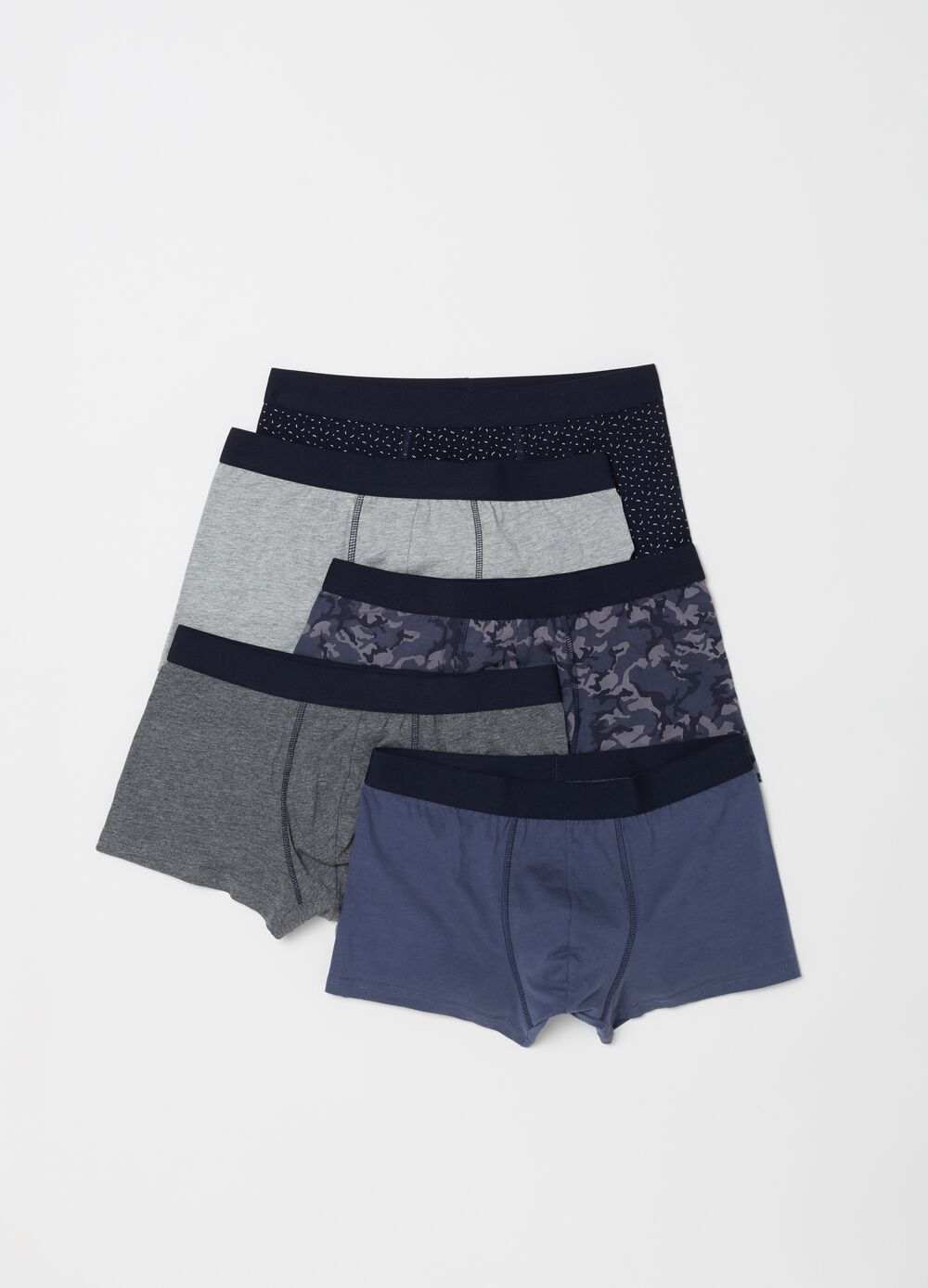 Five-pack boxers in 100% cotton