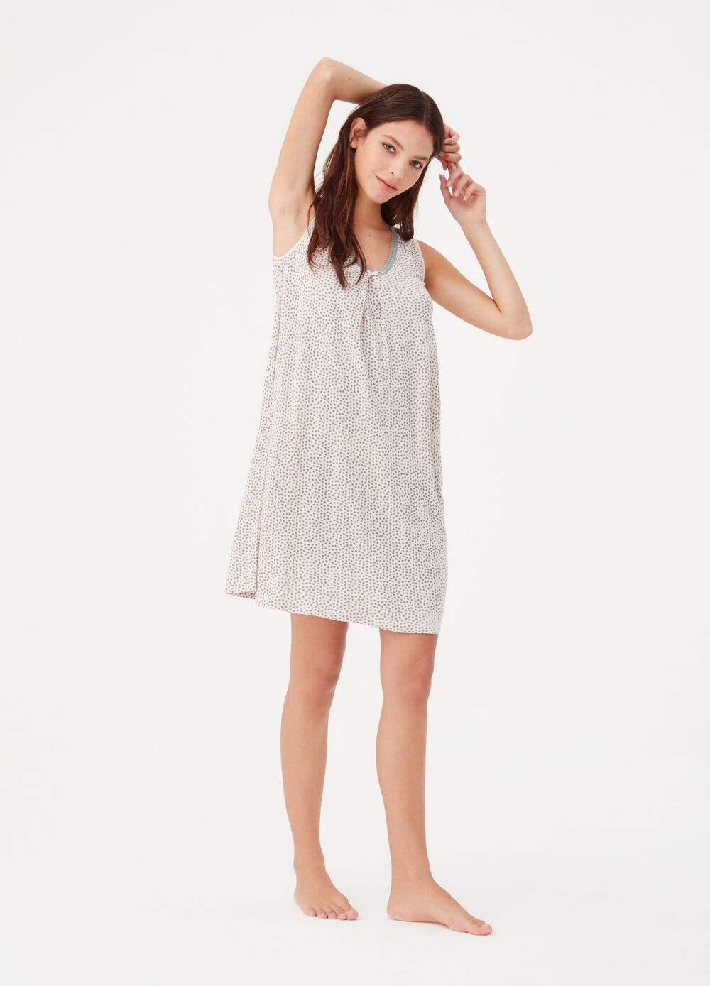 Polka dot sleeveless nightshirt