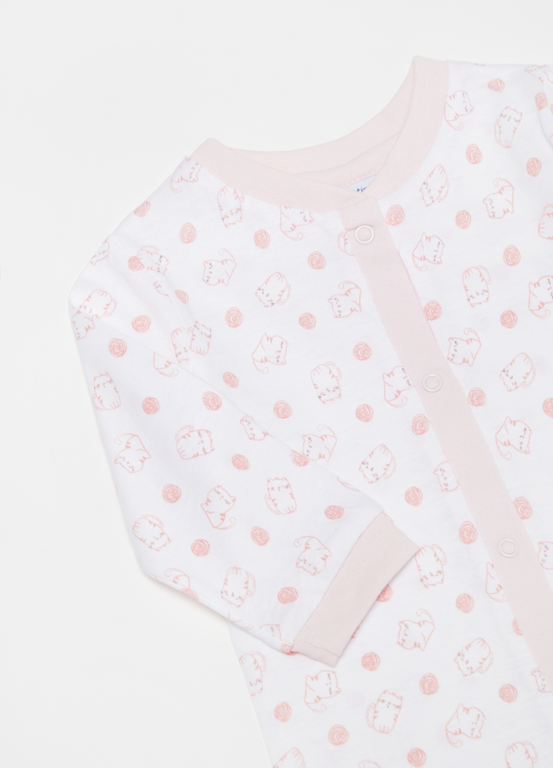 Organic cotton onesie with feet and kittens print image number null